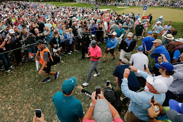 "<a class=""link rapid-noclick-resp"" href=""/pga/players/147/"" data-ylk=""slk:Tiger Woods"">Tiger Woods</a> is squarely in the hunt going into the final round of the Valspar Championship. (Getty)"