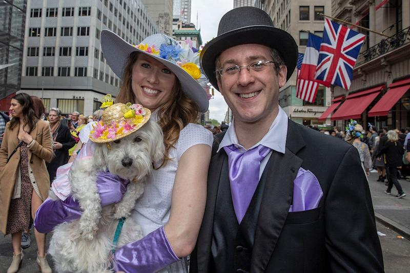 Lana and Randy pose for a photo at the Easter Parade and Bonnet Festival, Sunday, April 21, 2019, in New York. (Photo: Gordon Donovan/Yahoo News)