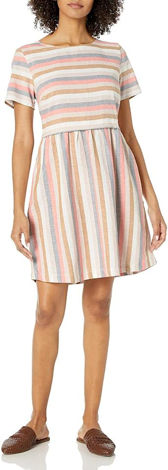 """<p>This <a href=""""https://www.popsugar.com/buy/Goodthreads-Washed-Linen-Dress-575796?p_name=Goodthreads%20Washed%20Linen%20Dress&retailer=amazon.com&pid=575796&price=38&evar1=fab%3Aus&evar9=47574038&evar98=https%3A%2F%2Fwww.popsugar.com%2Ffashion%2Fphoto-gallery%2F47574038%2Fimage%2F47574090%2FGoodthreads-Washed-Linen-Dress&list1=shopping%2Camazon%2Cdresses%2Csummer%20fashion%2C50%20under%20%2450%2Cfashion%20shopping%2Caffordable%20shopping&prop13=api&pdata=1"""" rel=""""nofollow"""" data-shoppable-link=""""1"""" target=""""_blank"""" class=""""ga-track"""" data-ga-category=""""Related"""" data-ga-label=""""https://www.amazon.com/Amazon-Brand-Short-Sleeve-Fit-Flare/dp/B07Y5M7GVM/ref=sr_1_64?dchild=1&amp;qid=1590013831&amp;rnid=1040660&amp;s=apparel&amp;sr=1-64"""" data-ga-action=""""In-Line Links"""">Goodthreads Washed Linen Dress</a> ($38) is quite comfy.</p>"""