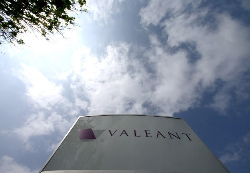 Company logo of Valeant Pharmaceuticals International Inc is seen at its headquarters in Laval