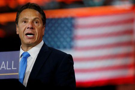 New York Governor Andrew Cuomo speaks during an announcement at The Moynihan Train Hall in New York