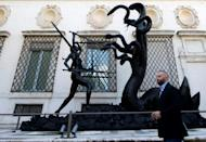 Hirst's 'Hydra and Kali' sculpture stands outside the Borghese gallery