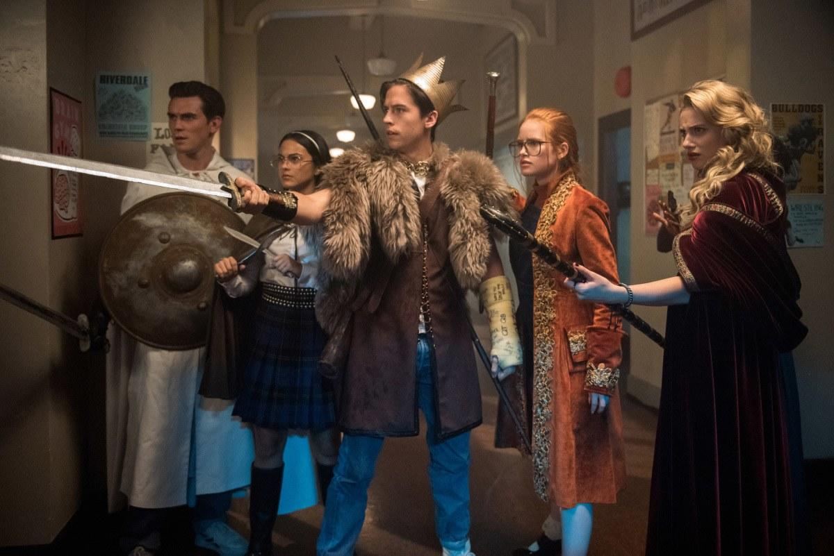 Take it back to when the whole gang was channeling their onscreen parents while playing the forbidden (and creepy) Gryphons and Gargoyles.