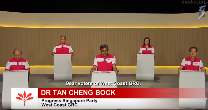 Progress Singapore Party West Coast GRC GE2020 candidates speaking in a constituency political broadcast on 8 July 2020. (SCREENSHOT: Mediacorp/YouTube)
