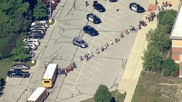 PHOTO: Students are loaded onto school buses at Noblesville West Middle School in Noblesville, Ind., after reports of a shooting, May 25, 2018. (WRTV)