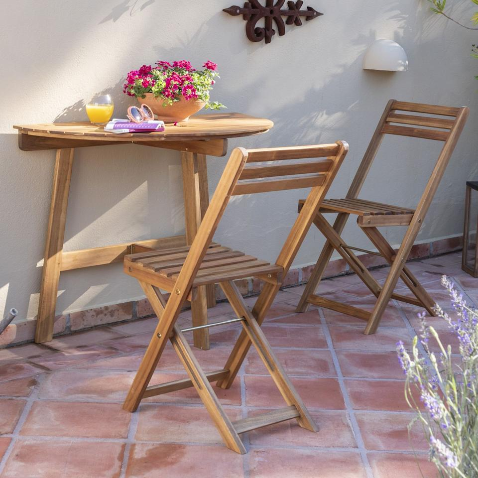 """<p><a class=""""body-btn-link"""" href=""""https://go.redirectingat.com?id=127X1599956&url=https%3A%2F%2Fwww.dunelm.com%2Fproduct%2Fpanama-wooden-2-seat-half-table-dining-set-1000142447&sref=http%3A%2F%2Fwww.housebeautiful.com%2Fuk%2Fgarden%2Fg26947634%2Fbalcony-furniture-small-spaces%2F"""" target=""""_blank"""">BUY NOW</a> <em>£69, Dunelm </em></p><p>Got hardly any outdoor balcony space? Don't worry, as Dunelm's two-seater half table is here to provide for even the smallest of outdoor spots. Simply attach it to your wall and enjoy your morning coffee in the sun. We couldn't think of anything better.</p><p><em><em>We earn a commission for products purchased through some links in this article.</em></em></p>"""