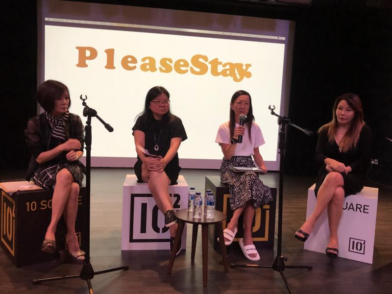 (L-R): Bereaved mothers Jenny Teo, 59; Tan Lay Ping, 46; Elaine Lek, 55; and Doreen Kho, 45, at the launch of PleaseStay.Movement. The initiative aims to raise awareness of mental health illness and prevent suicide. PHOTO: Nicholas Yong/Yahoo News Singapore