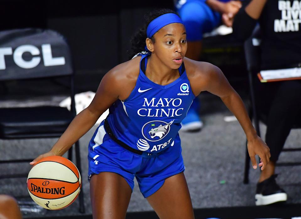 Minnesota Lynx star Lexie Brown is one of eight WNBA stars participating in Glossier's new Body Hero campaign. (Photo by Julio Aguilar/Getty Images)