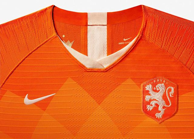 <p>The head-to-toe orange shirt, shorts and socks are adorned with an ornamental graphic inspired by the country's famed tulip and completed by the KNVB women's team's exclusive Lioness crest — introduced just weeks before the glory of 2017. </p>