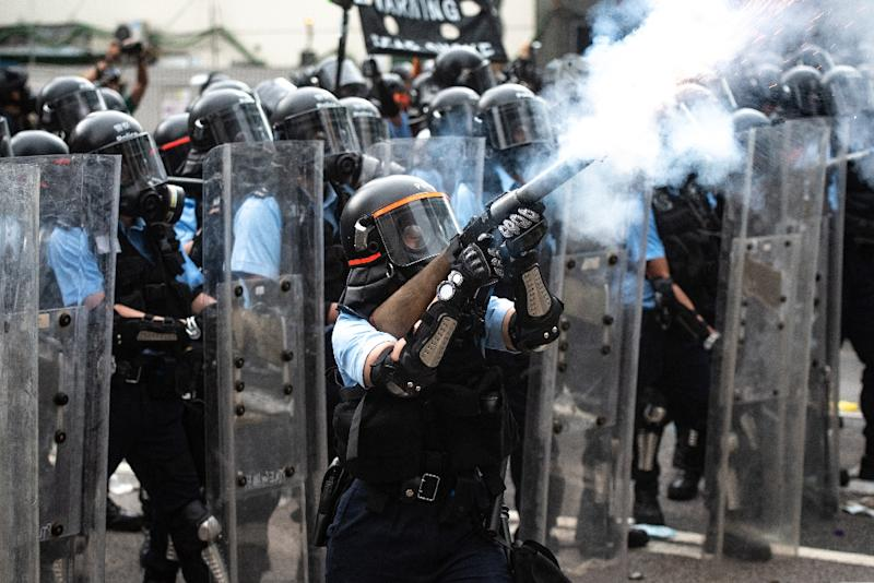 Police said force was necessary to fend off protesters throwing bricks and metal bars (AFP Photo/Philip FONG)