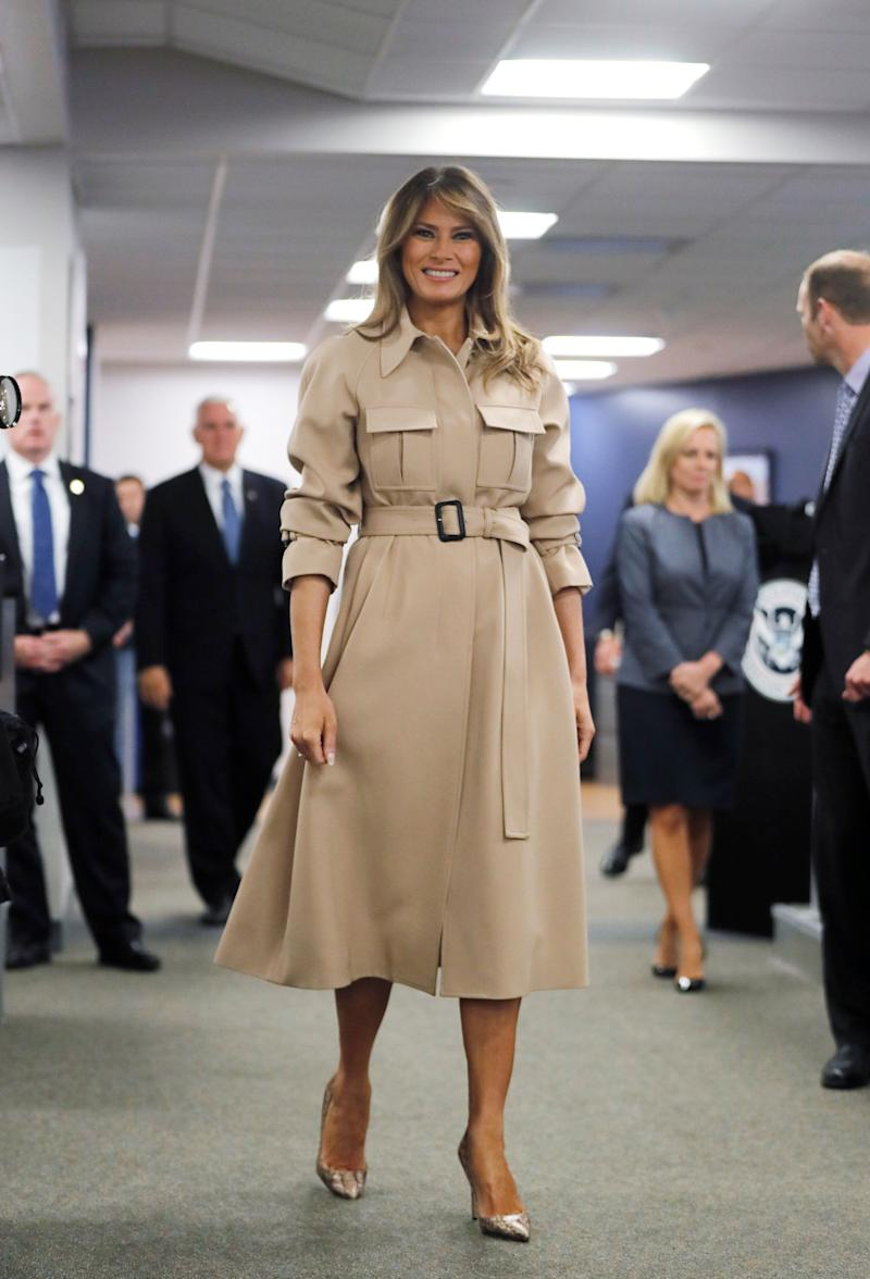 U.S. first lady Melania Trump visits the Federal Emergency Management Agency.