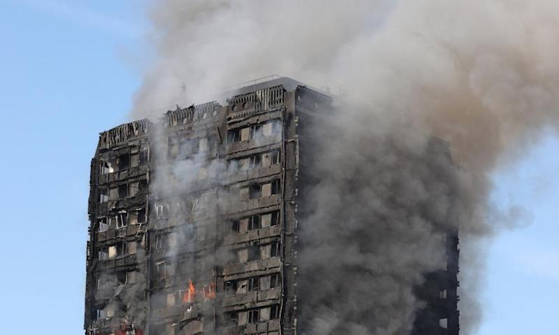Grenfell Tower on fire