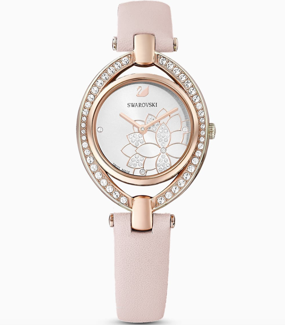 PHOTO: Swarovski. Stella Watch, Leather Strap, Pink, Rose-Gold Tone