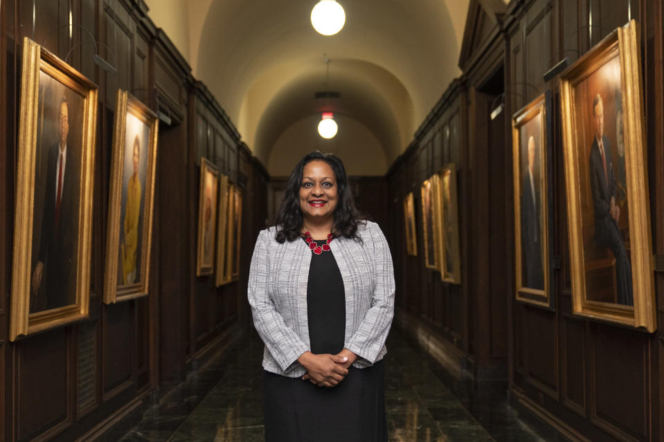 Environmental Protection Agency Water Director Radhika Fox poses for a portrait in Washington, Friday, July 2, 2021. Fox joins the EPA as water issues have become a priority under President Joe Biden. She was previously CEO of the conservation advocacy group U.S. Water Alliance and policy director at the San Francisco Public Utilities Commission. (AP Photo/Manuel Balce Ceneta)