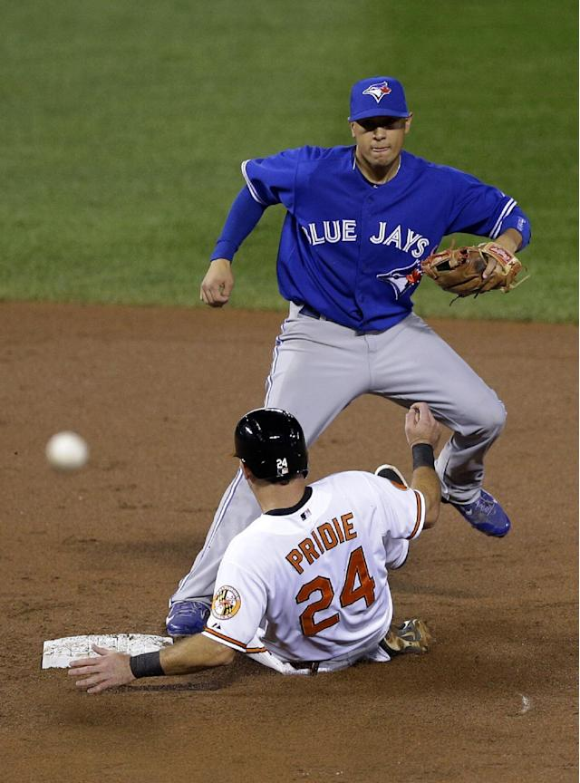Toronto Blue Jays second baseman Ryan Goins, top, leaps out of the way of Baltimore Orioles' Jason Pridie after forcing him out on a double play on a ground ball hit by Jonathan Schoop in the second inning of a baseball game on Thursday, Sept. 26, 2013, in Baltimore. (AP Photo/Patrick Semansky)