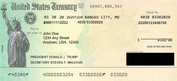 PHOTO: An April 2020 draft of an economic stimulus payment check, obtained by ABC News, shows then-Treasury Secretary Steven Mnuchin's name under then-President Donald Trump's. (U.S. Department of the Treasury)