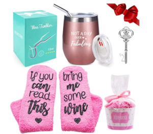 "<span class=""caption"">FUNCUBE Wine Tumbler with Saying + Cupcake Wine Socks Gift Set</span> <span class=""credit"">Amazon</span>"