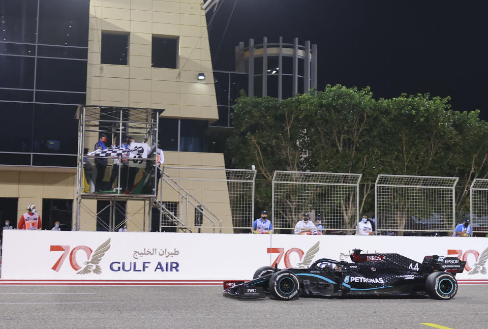 Mercedes driver Lewis Hamilton of Britain wins the Formula One Bahrain Grand Prix in Sakhir, Bahrain, Sunday, Nov. 29, 2020. (Giuseppe Cacace, Pool via AP)