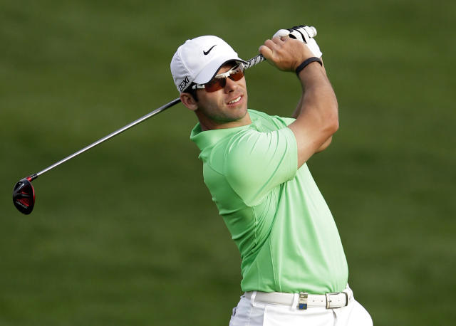<p> Paul Casey of England plays a ball on the 10th hole during the first round of the Desert Classic Golf tournament in Dubai, United Arab Emirates, Thursday, Jan. 31, 2013. (AP Photo/Kamran Jebreili) </p>