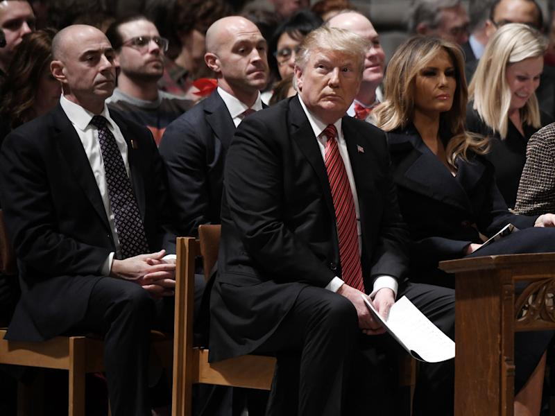 US President Donald Trump and first lady Melania Trump attend Christmas Eve services at the National Cathedral on 24 December 2018 in Washington, D.C. ((Getty Images))