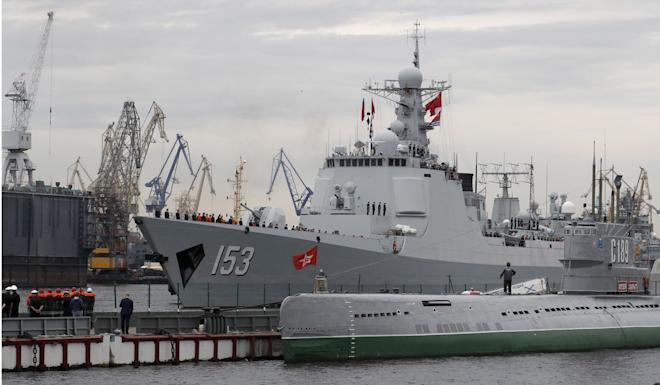 China's Xian warship arrives in St Petersburg on Wednesday, ahead of the Navy Day parade. Photo: EPA-EFE