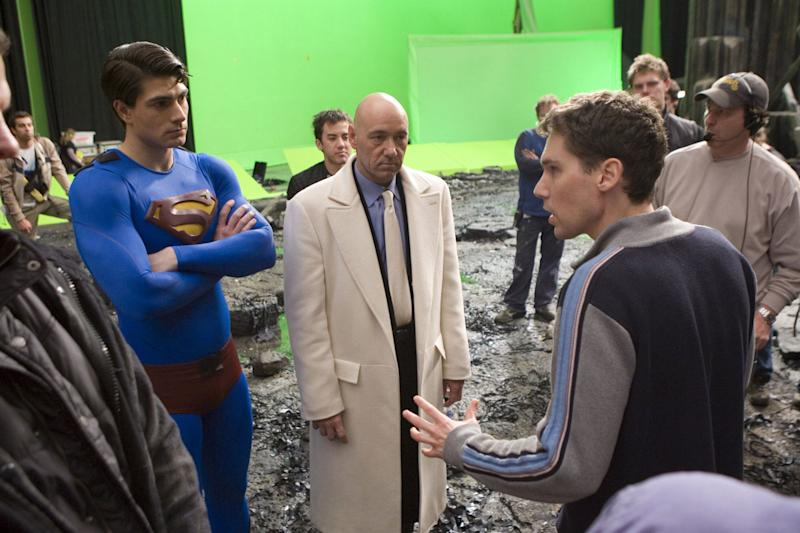 Brandon Routh, Kevin Spacey and Bryan Singer on the set of <i>Superman Returns</i> (Warner Bros.)