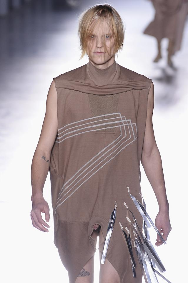<p>Rick Owens spawned a whole host of play on words with his AW15 menswear show. Several designs featured special peepholes showing models' bare genitals, giving the front row the shock of their lives. <i>[Photo: Getty]</i> </p>