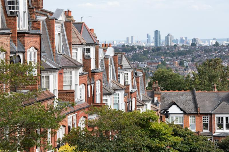 General view of Victorian housing and the London skyline in Muswell Hill, north London. Photo credit should read: Matt Crossick/Empics