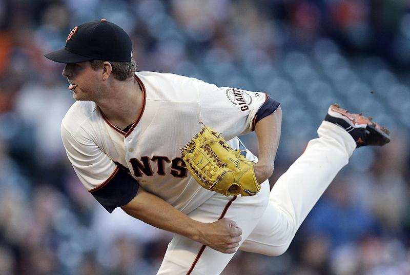San Francisco Giants' Matt Cain works against the Oakland Athletics in the first inning of a baseball game Wednesday, July 9, 2014, in San Francisco. (AP Photo/Ben Margot)