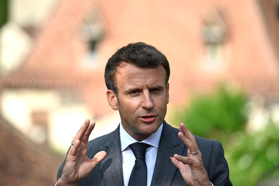French President Emmanuel Macron was greeting a crowd of people in the southwest of France on Tuesday when he was filmed being slapped by a man. (Photo: LIONEL BONAVENTURE via Getty Images)