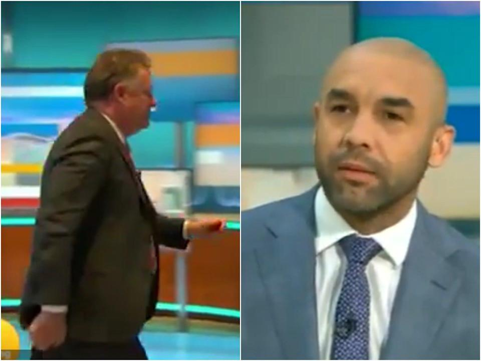Piers Morgan walking off set (left) following criticism from Alex Beresford (right) on Good Morning Britain (ITV)