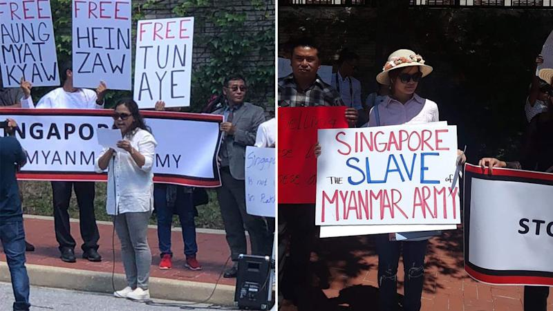 Protesters seen along the street outside the Singapore Embassy in Washington, D.C. (PHOTOS: Twitter / Voice Of Arakan)
