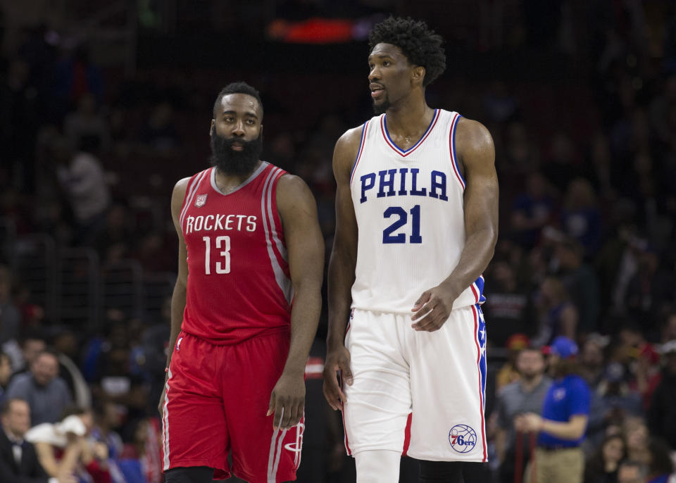 James Harden and Joel Embiid would be a handful for Eastern Conference defenses. (Mitchell Leff/Getty Images)