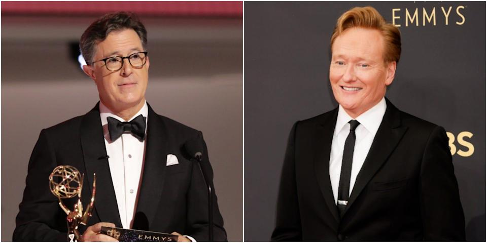 Stephen Colbert, left, and Conan O'Brien, right, at the 2021 Emmy Awards.