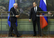 "In this photo released by the Russian Foreign Ministry Press Service, Russian Foreign Minister Sergey Lavrov, right, and High Representative of the EU for Foreign Affairs and Security Policy, Josep Borrell leave a joint news conference following their talks in Moscow, Russia, Friday, Feb. 5, 2021. The European Union's top diplomat told Russia's foreign minister Friday that the treatment of Russian opposition leader Alexei Navalny represents ""a low point"" in the relations between Brussels and Moscow. EU foreign affairs chief Josep Borrell met with Russian Foreign Minister Sergey Lavrov several days after Navalny was ordered to serve nearly three years in prison, a ruling that elicited international outrage. (Russian Foreign Ministry Press Service via AP)"