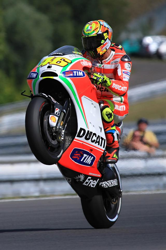 Moto GP rider Valentino Rossi of Italy rides his Ducati bike during the free practice session at the Czech Republic Grand Prix in Moto GP on August 24, 2012, in Brno ahead of the Grand prix on August 26. AFP PHOTO/ RADEK MICARADEK MICA/AFP/GettyImages