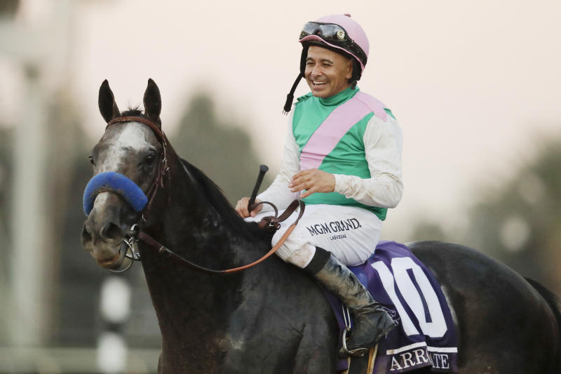FILE - In this Nov. 5, 2016, file photo, jockey Mike Smith celebrates after riding Arrogate to victory in the Breeders' Cup Classic horse race at Santa Anita Park in Arcadia, Calif. Arrogate, North America's all-time money earner, has died. He was seven. Juddmonte Farms in Lexington, Ky., said Arrogate was euthanized on Tuesday, June 2, 2020, after becoming ill. (AP Photo/Jae C. Hong, File)