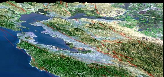 San Francisco Bay Area earthquake faults are drawn in red.