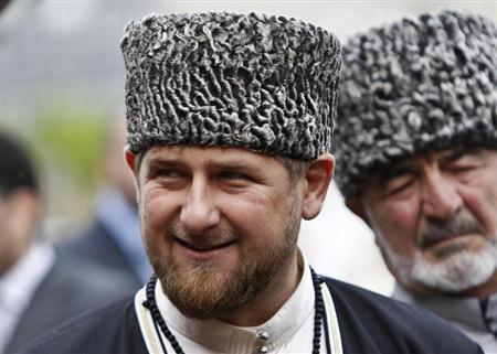 Chechen leader Ramzan Kadyrov smiles during a government organised event marking Chechen language day in central Grozny