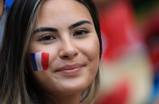 <p>A fan of France looks on during the 2018 FIFA World Cup Russia group C match between Denmark and France at Luzhniki Stadium on June 26, 2018 in Moscow, Russia. (Photo by Amin Mohammad Jamali/Getty Images) </p>