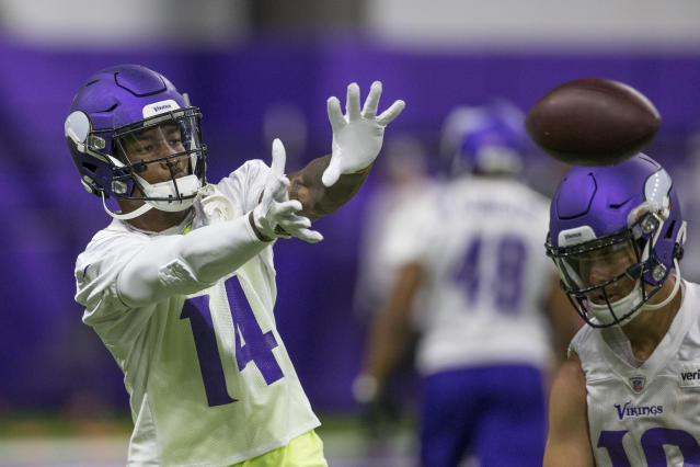 Minnesota Vikings wide receiver Stefon Diggs makes a catch during drills at the team's NFL football training facility in Eagan, Minn. Tuesday, June 11, 2019. (AP Photo/Andy Clayton- King)