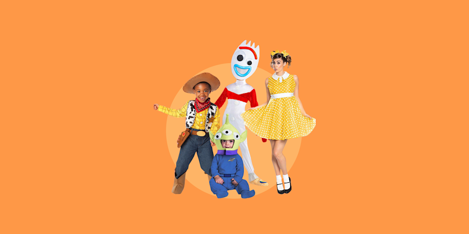 """<p>Dressing up for Halloween can actually be stressful, especially when it comes to picking out <a href=""""https://www.goodhousekeeping.com/holidays/halloween-ideas/g385/popular-kids-halloween-costumes/"""" rel=""""nofollow noopener"""" target=""""_blank"""" data-ylk=""""slk:costumes for young children"""" class=""""link rapid-noclick-resp"""">costumes for young children</a> in the family. However, picking one shared theme that all family members can participate in not only makes things easier, but it makes the whole dressing up process a lot more fun! (And, not to mention matching costumes can help create some pretty darn cute Halloween photos).</p><p>When it comes to choosing family Halloween costume themes, think of <a href=""""https://www.goodhousekeeping.com/holidays/halloween-ideas/g22127013/book-character-costumes/"""" rel=""""nofollow noopener"""" target=""""_blank"""" data-ylk=""""slk:storybook characters costumes"""" class=""""link rapid-noclick-resp"""">storybook characters costumes</a>, <a href=""""https://www.goodhousekeeping.com/holidays/halloween-ideas/g4771/disney-halloween-costumes/"""" rel=""""nofollow noopener"""" target=""""_blank"""" data-ylk=""""slk:Disney costumes"""" class=""""link rapid-noclick-resp"""">Disney costumes</a>, and your <a href=""""https://www.goodhousekeeping.com/holidays/halloween-ideas/g4566/superhero-halloween-costumes/"""" rel=""""nofollow noopener"""" target=""""_blank"""" data-ylk=""""slk:favorite superheroes"""" class=""""link rapid-noclick-resp"""">favorite superheroes</a>. You'll find that some family Halloween <a href=""""https://www.goodhousekeeping.com/holidays/halloween-ideas/g21931993/teen-halloween-costumes/"""" rel=""""nofollow noopener"""" target=""""_blank"""" data-ylk=""""slk:costumes are actually even cool enough for teens"""" class=""""link rapid-noclick-resp"""">costumes are actually even cool enough for teens</a> to wear. No matter if you want to go full on scary or need something at the last minute, here are 28 family-friendly Halloween costume ideas for families big and small, young and old. </p><p><em>For more <a href=""""https://www.goodhousekeeping."""