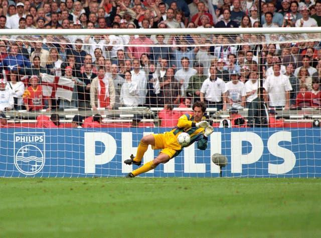 David Seaman saves from Miguel Angel Nadal to see England into the Euro 96 semi-finals