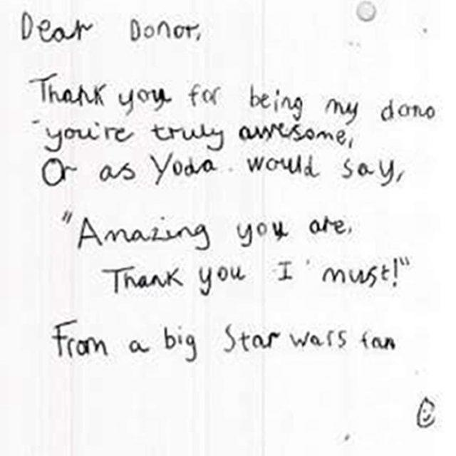 'Thank you' from a young Star Wars fan