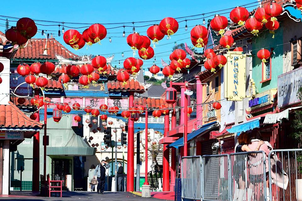Red lanterns decorate Chinatown Central Plaza on the first day of the Lunar New Year of the Ox in Los Angeles