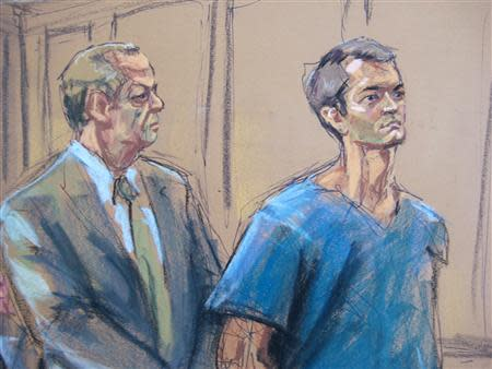 Ross Ulbricht , who prosecutors say created the underground online drugs marketplace Silk Road, makes an initial court appearance with his lawyer Joshua Dratel (L) in New York, February 7, 2014. REUTERS/Jane Rosenberg