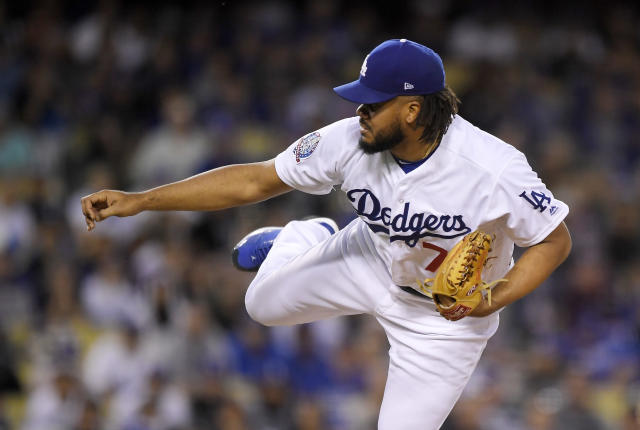 Los Angeles Dodgers relief pitcher Kenley Jansen throws to the plate during the ninth inning of a baseball game against the San Francisco Giants, Saturday, June 16, 2018, in Los Angeles. (AP Photo/Mark J. Terrill)