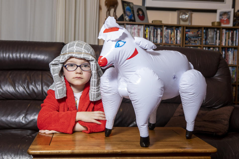 The outfit was listed on Amazon as 'Labreeze kids boys brown shepherd costume inflatable sheep nativity fancy dress outfit' (SWNS)