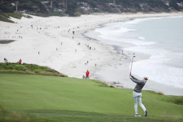 Rory McIlroy plays a second shot on the ninth hole during the second round of the 2019 U.S. Open at Pebble Beach Golf Links. (Getty Images)