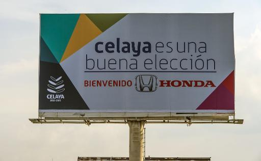 "<p>A giant billboard reading ""Celaya is a good choice. Welcome Honda"" is displayed at the Mexico-Japan Avenue --the city's entrance-- on February 21, 2014 in Celaya, Guanajuato state, Mexico</p>"
